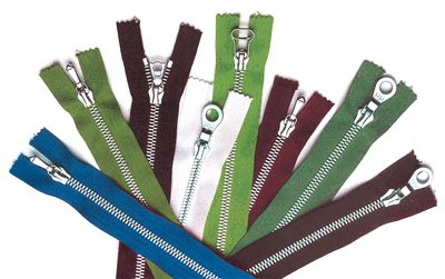 Zippers coated with MIRALLOY<sup>&reg;</sup>.